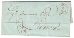 Non Comune Annullo Rosso Di SPEZIA Su Lettera Del 1852 Per LIVORNO - Sardinia