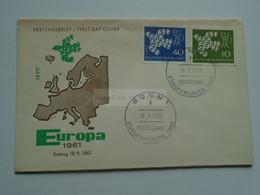 AV668.7  Germany    BRD  FDC  EUROPA  CEPT - BONN 1961 - Lettres & Documents