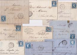 22977# LOT 11 LETTRES AMBULANT CAEN CLERMONT ERQUELINES LILLE PARIS LANGRES LYON MARSEILLE JOUR ET NUIT - 1849-1876: Classic Period