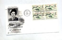 Lettre Fdc 1966 Carré Belle Amerique - 1961-1970