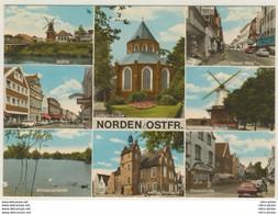 AK  Norden Mühle Neuer Weg Osterstraße Teich Rathaus Kirche_Ansichtskarte _ Normalformat - Norden