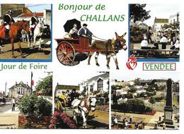 85  Challans Un Bonjour Jour De Foire  Costumes Cheveaux Charettes Monument Aux Morts Animée - Challans