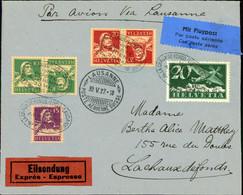 SWITZERLAND, FIRST FLIGHT LA CHAUX DE FONDS LOCLE LAUSANNE 1927 - Erst- U. Sonderflugbriefe