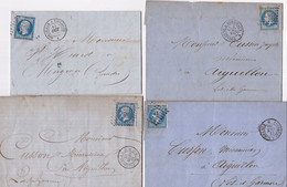 22990# LOT 7 LETTRES Obl TOULOUSE A BORDEAUX 1859 AMBULANT JOUR 1868 NUIT HAUTE GARONNE GIRONDE - 1849-1876: Classic Period