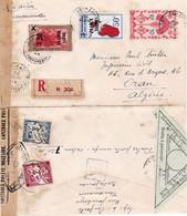 LR Avion Censurée Tananarive 24/6/1944 Pr Oran Algérie Avec Le Rare 50F PA France Libre Taxe Dédouanement 5F 10/7/44 - Covers & Documents