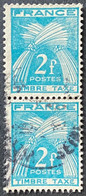 France YTYX082-Timbres Taxe Type Gerbes Pair Of 2 F Used Old Stamps 1946-55 - FRAYX082Ux2v - Fiscaux