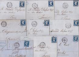 22994# LOT 11 LETTRES Obl BORDEAUX A PARIS 1° 1855 1860 AMBULANT NUIT - 1849-1876: Classic Period