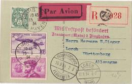22997# CARTE POSTALE PAR AVION RECOMMANDE Obl PARIS 1934 LORCH WÜRTTEMBERG MIT LUFTPOST FRANKFURT MAIN - Posta Aerea