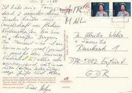 Kanada Ottawa MWST 1988 Mi. 1069 Paar Königin Elisabeth II. Luftpost - Postkarte Nach DDR - Cartas