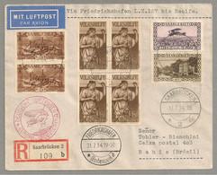 ZEPPELIN SAARGEBIET SARRE 4. Südamerikafahrt 1934 Nothilfe Viererblock - Unclassified