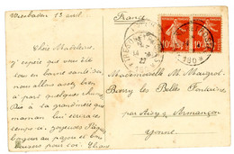 """OCCUPATION FRANCAISE ALLEMAGNE CP 1922 PAIRE 10C SEMEUSE TRESOR ET POSTES """"180* WEISBADEN = QG 3° CORPS ARMEE & 37° DIVI - Occupation 1914-18"""