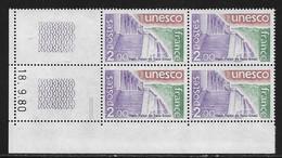 FRANCE SERVICE N°62** UNESCO COIN DATE DU 18/9/1980 - 1980-1989