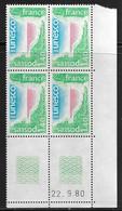 FRANCE SERVICE N°61** UNESCO COIN DATE DU 22/9/1980 - 1980-1989