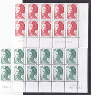 France 2178/2181, 2183/2184 Liberté Bloc De 10 (12 2178) Coin Avec Rotative Datés 1982 1983 Neuf**  TB MNH Sin Charnela - 1980-1989