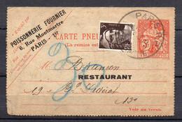 RARE ENTIER PNEUMATIQUE REPIQUÉ 3f CHAPLAIN + TP 3f GANDON / RESTRICTION ALIMENTAIRE / Tàd TYPE 68 PARIS R.P. TELEGRAPHE - Lettres & Documents