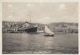 GENOVA-IL SUPERTRANSATLANTICO REXNASTRO AZZURRO IN PORTO-CARTOLINA VERA FOTOGRAFIA NON VIAGGIATA 1940-1942 - Genova (Genoa)