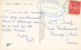 Maroc Timbre Franchise Militaire 1953 Cachet Base Aerienne 150 Rabat Ville Sur Carte Rue El Gza CPSM PF Pour La France - Briefe U. Dokumente