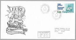 "B1 - TAAF PO129 Kerguelen Du 1.1.1987, 1ere Date. Grand Cachet Illustré "" Aviso Transport EURE "" - Briefe U. Dokumente"
