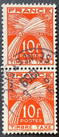 France YTYX086-Timbres Taxe Type Gerbes Pair Of 10 F Used Old Stamps 1946-55 - FRAYX086Ux2v - Fiscaux