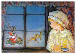 Little Girl Near Window Santa Claus Team Christmas By Lisi Martin NEW Postcard - Non Classificati