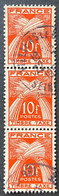 France YTYX086-Timbres Taxe Type Gerbes Stripe Of 3 Used 10 F Stamps 1946-55 - FRAYX086Ux3v1 - Fiscaux