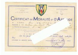 Guerre 40/45 - Chantiers De La Jeunesse  Gpt. N° 5 - Certificat De Moralité Et D'Aptitude - Busserolles (FR91) - 1939-45