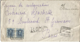PAMPLONA NAVARRA CC CERTIFICADA A PARIS 1924 SELLOS ALFONSO XIII VAQUER - Briefe U. Dokumente