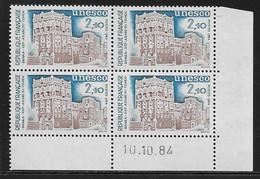 FRANCE SERVICE N°80** UNESCO COIN DATE DU 10/10/1984 - 1980-1989