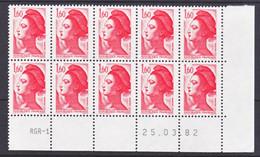 France 2187 Liberté Bloc De 10 Coin Avec Rotative Datés 25 3  1982 Neuf**  TB MNH Sin Charnela - 1980-1989