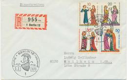 BERLIN 1970 Jugend Minnesänger Kompletter Satz Auf Kab.-FDC Seltene Portogerecht - Cartas