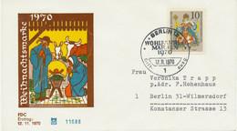 BERLIN 1970 Weihnachten 10 + 5 Pf Kab-FDC EF Portogerecht Als Ortsbrief Gelaufen - Cartas