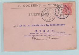 H. Goossens Venlo, Briefkaart Naar FUMAY, Ardennes France - Sin Clasificación