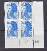 France 2425 Liberté Bloc De 4 Coin Avec Rotative Datés 23 9 1986 Neuf**  TB MNH Sin Charnela - 1980-1989