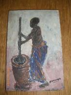 PEINTURE SUR BOIS  25 X 17 X 2 Cms .  Peinture Signee MUVUMA IYALAM  .  PEINTRE TRES COTE ..  ANNEES 1950 - African Art