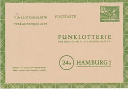 Berlin-1953 Unused 10 Pf (+ 65 Pf) Green Radio Lottery Card Cover - Cartas