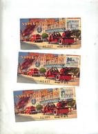 3 Billet De Loterie 1959 Pupille Sapeur Pompier Vignette Monument Fe Paris - Lottery Tickets
