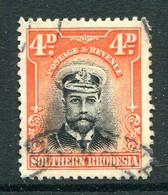 Southern Rhodesia 1924-1929 KGV - 4d Black & Orange-red Used (SG 6) - Südrhodesien (...-1964)