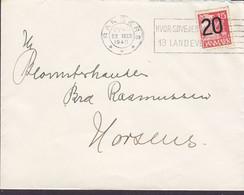 Denmark Slogan 'Hvor Søvejen Møder Landevejen' RANDERS 1940 Cover Brief HORSENS 20/15 Øre Karavelle Provisorium - Briefe U. Dokumente
