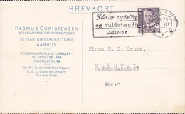 Denmark RASMUS CHRISTENSEN Statsautoriseret Skibsmægler (Ship Broker), TMS Cds. AARHUS 1951 Card Karte MARSTAL Ærø - Briefe U. Dokumente