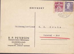 Denmark R. P. PETERSEN Skibsmægler (Ship Broker) EGERNSUND 1945 Card Karte MARSTAL Ærø (2 Scans) - Briefe U. Dokumente