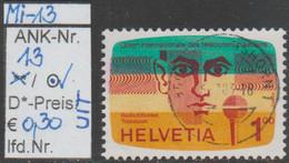"""1976 -  SCHWEIZ / INTERN. FERNMELDEVER. (UIT) - SM """"Radio-Fernsehen"""" 100 C. Mehrf.- O Gestempelt - S. Scan (13o  Ch/uit - Used Stamps"""