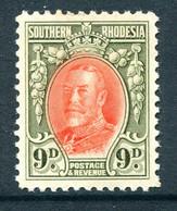 Southern Rhodesia 1931-1937 KGV - 9d Vermilion & Olive-green HM (SG 21b) - Small Gum Thin - Südrhodesien (...-1964)