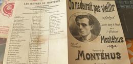 MONTEHUS /ON NZE DEVRAIT PAS VIEILLIR - Partitions Musicales Anciennes