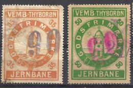 Denmark Local Railway Parcel. Vemb Thyborn 90/35oere,60/50 Oere Used. Rare .Railways/Eisenbahnmarke/Revenues - Trains