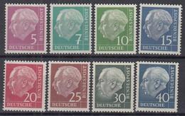 BRD  179y, 181y, 183-186y, 259-260y, Postfrisch **, Mit Fluoreszenz, Heuss Lumogen Komplett, 1954/1956 - Unused Stamps