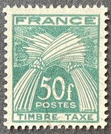 France YTYX088-Timbres Taxe Type Gerbes 50 F Used Stamp 1946-55 - FRAYX088U - Fiscaux