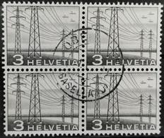 1949 Hochspannungsleitung Viererblock MiNr: 529 - Used Stamps