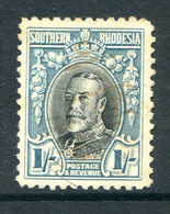 Southern Rhodesia 1931-1937 KGV - 1/- Black & Bluish-green - P.12 - Used (SG 23) - Südrhodesien (...-1964)