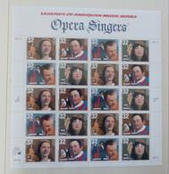 USA 1997  Mi 2779-2782 Opera Singers, Pons, Tibbett, Tucker, Ponselle,  Pane 20  Postfrisch ** MNH   #XL637 - Blocchi & Foglietti