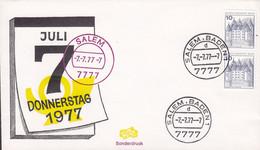 Germany Bundespost Sonderdruck 7.7.77 SALEM BADEN 7777 Cover Brief Fidacos Cachet 3-Sided Schloss Glücksburg Pair - Cartas